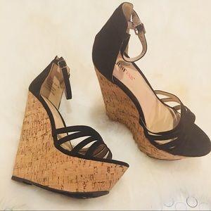 Black Just Fab Cork Wedge Sandals